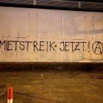 """Foto von Graffiti: """"Mietstreik jetzt! (Anarchie-A)"""""""