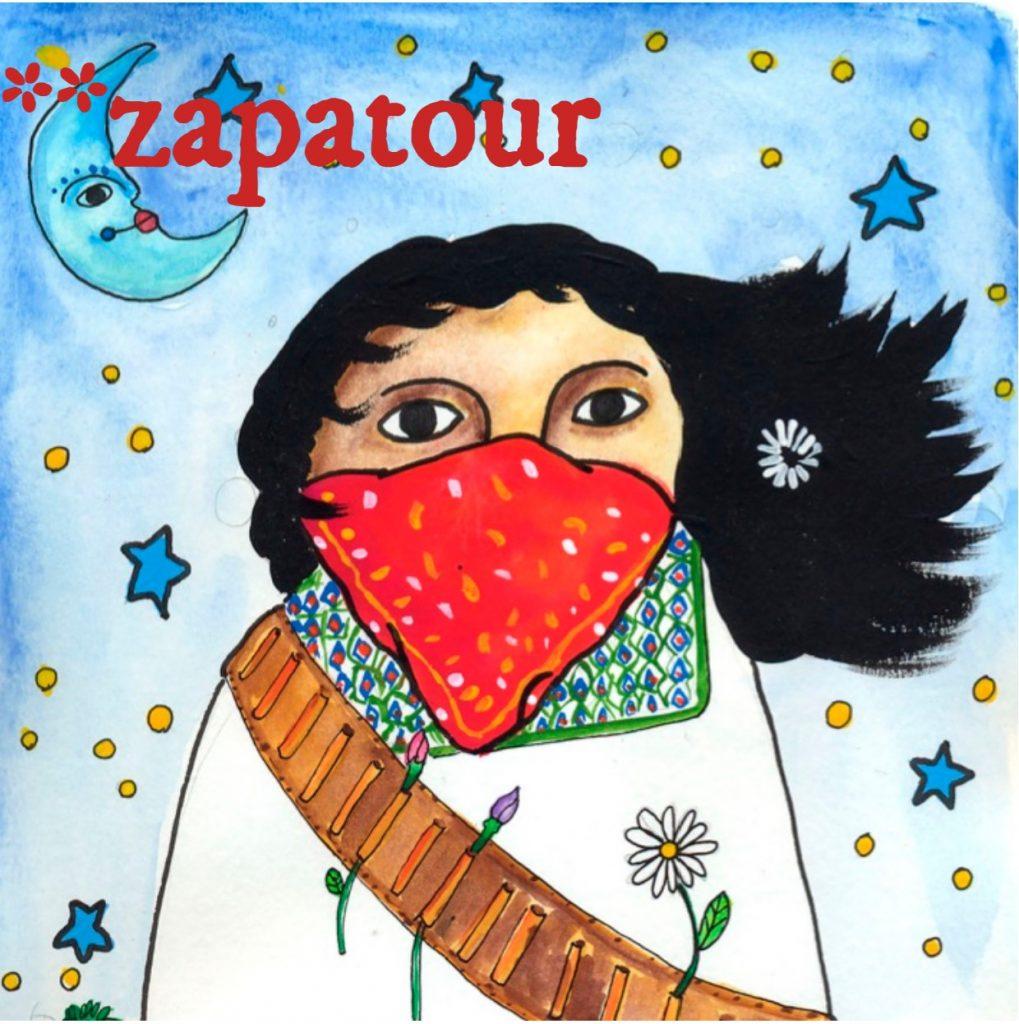 Zeichnung einer Zapatista mit langem wehendem Haar und rotem Tuch vorm Gesicht. Die Person hat einen Patronengürtel umgehängt, in dem Blumen stecken.